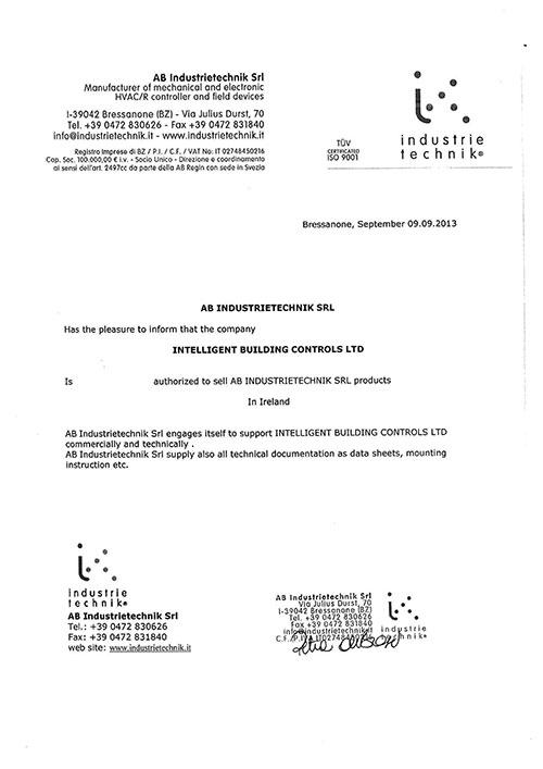 Industrie Certificate